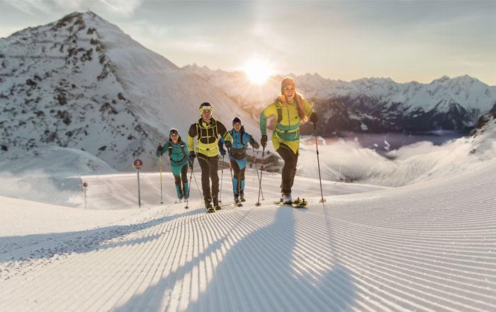 Skitouren gehen auf der Skipiste